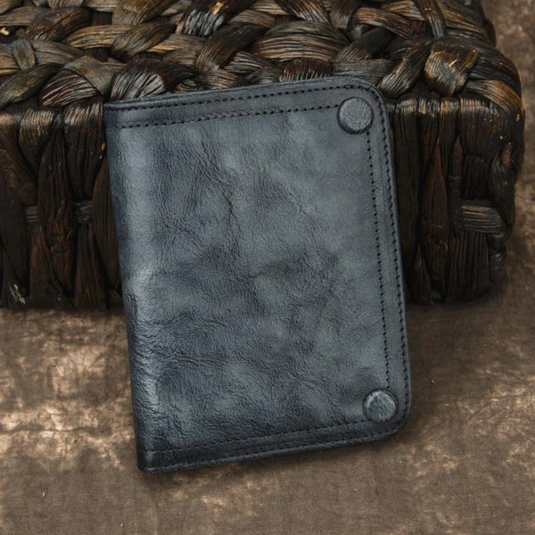 Brown Vintage Bifold Wallet Leather Mens Blue billfold Small Wallet Zipper Small Wallet For Men