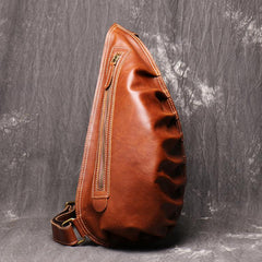 Cool Brown Leather Men's Sling Bag Sling Backpack Unique Sling Packs Sling Crossbody Pack For Men