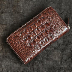 Brown Crocodile Leather Mens Black Zipper Bifold Long Wallet Black Clutch Wallet For Men