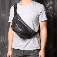 Black MENS LEATHER Brown FANNY PACK FOR MEN BUMBAG WAIST BAGS Chest Bag For Men