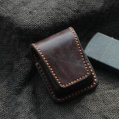Cool Dark Brown Handmade Leather Mens Standard Zippo Lighter Case With Belt Loop Lighter Holders For Men