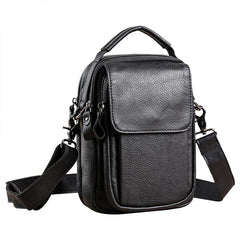 Fashion Black Leather MENS Vertical Small Side Bag Black Messenger Bag Courier Bag For Men