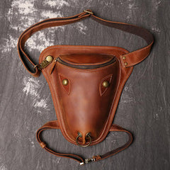 Retro Brown MENS LEATHER FANNY PACK FOR MEN Dark Coffee Ox Head BUMBAG Vintage WAIST BAGS