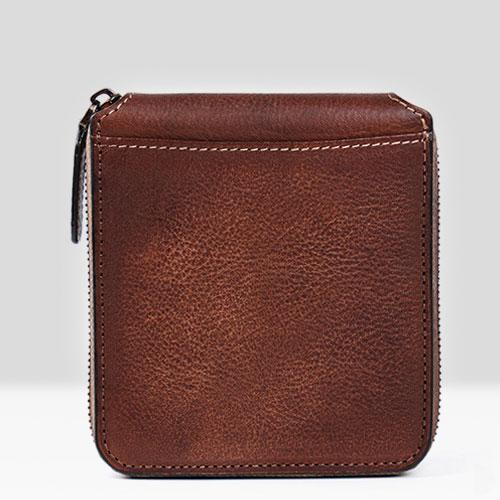 Handmade Mens Cool billfold Leather Wallet Men Small zipper Wallets Bifold for Men