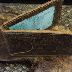 Handmade Leather Floral Mens License Wallets Cool Short Wallet Card Holder Small Card Slim Wallets for Men