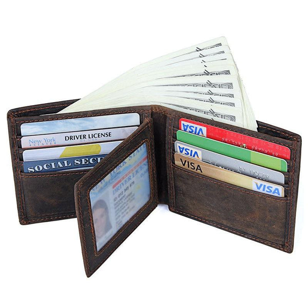 Coffee Mens Leather Bifold Wallet billfold Wallet Vintage Front Pocket Wallet for Men