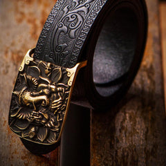 Handmade Black Cool Leather Mens Belt Cool Leather Men Belt for Men