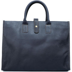 Vintage Black Mens Leather Briefcase Work Handbags Blue 14'' Computer Briefcases For Men