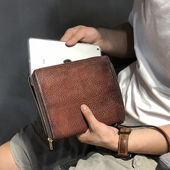 Handmade Black Leather Mens Bifold Wristlet Wallet Brown Clutch Wallet IPAD Bag Clutch Purse Men