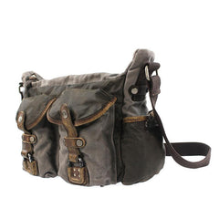 Gray Canvas Leather Mens Cool Side Bag Gray Messenger Bags Casual Courier Bags for Men