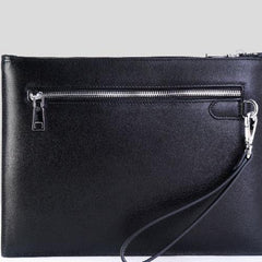 Handmade Leather Mens Cool Long Leather Zipper Clutch Wristlet Bag for Men