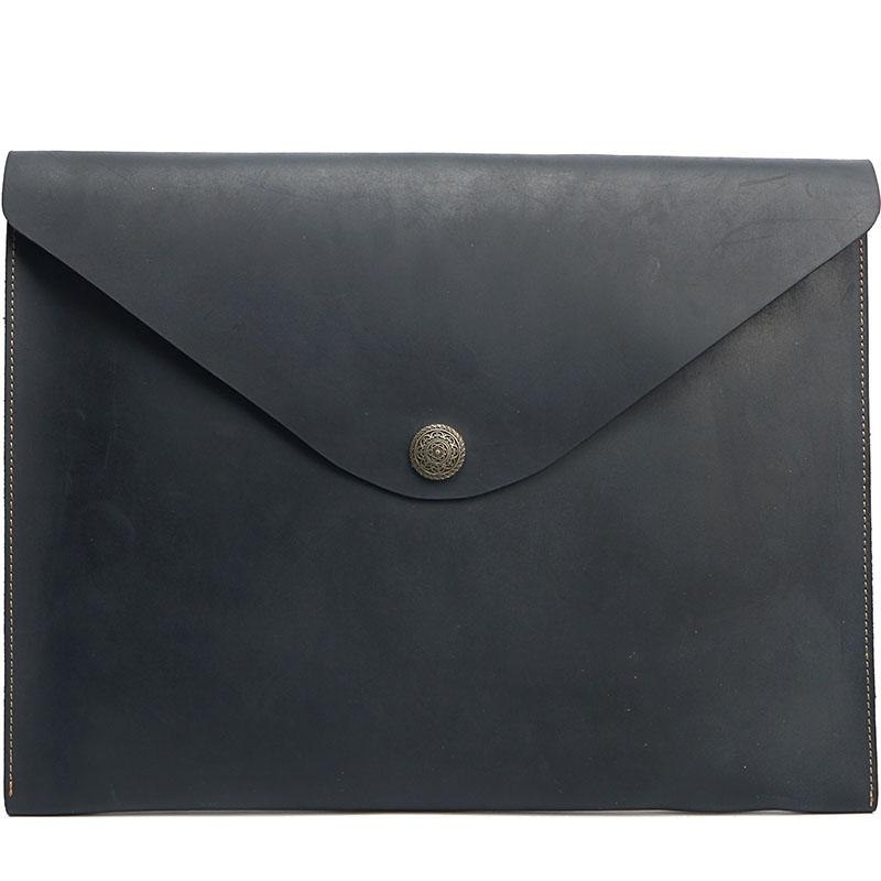 Vintage Business Leather Mens Black Envelope Bag Document Purse Brown Clutch For Men