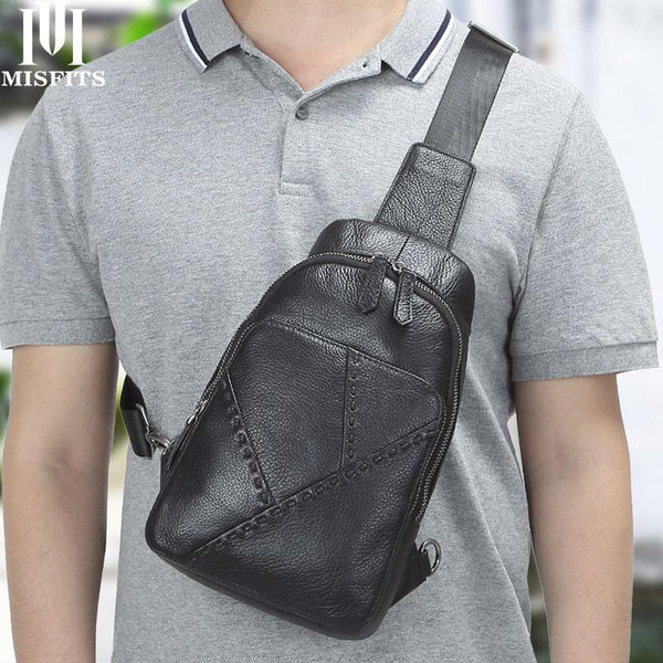 Black Leather Men's 8-inch One shoulder Backpack Sling Bag Black Chest Bag Sports Bag For Men