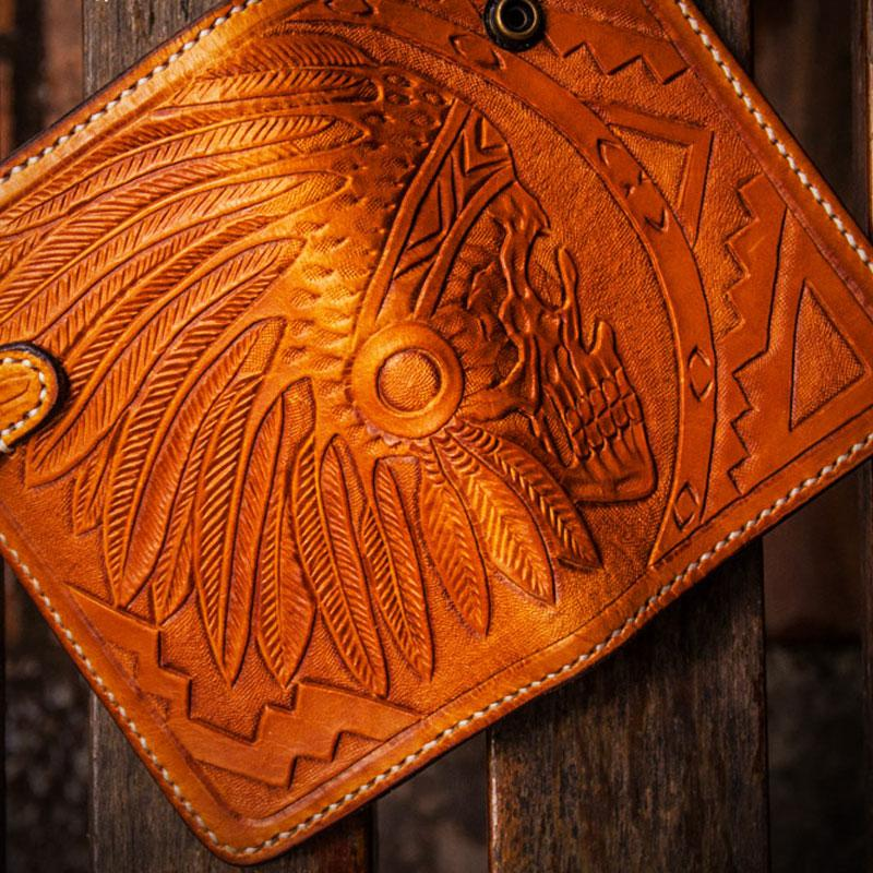 Handmade Leather Skull Indian Chief Tooled Mens Short