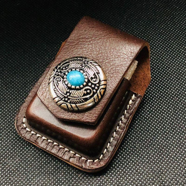 Coffee Handmade Leather Mens Stone Zippo Lighter Holders Lighter Case For Men