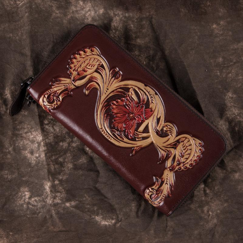 Black Tooled Leather Men's Bifold Long Zipper Wallet Clutch Bag Red For Women