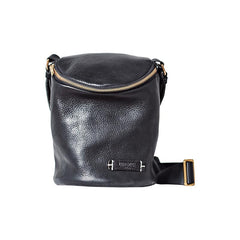Fashion Brown Leather Mens Womens Bucket Side Bag Black Bucket Messenger Bag For Men and Women