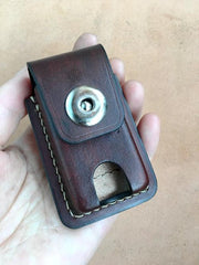 Black Handmade Leather Mens Slim Zippo Lighter Case Slim Zippo Lighter Holder with Belt Loop for Men