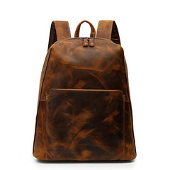 Black Mens Leather 14 inches School Laptop Backpack Brown Satchel Backpack for Men