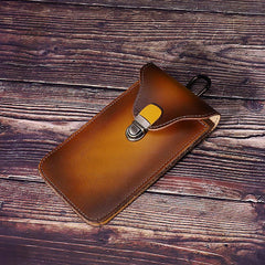 Tan Leather Cell Phone Holster Mens Belt Pouches Waist Bags BELT BAG Belt Holster For Men