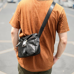 Black Leather Mens Casual Small Courier Bag Messenger Bags Brown Postman Bag For Men