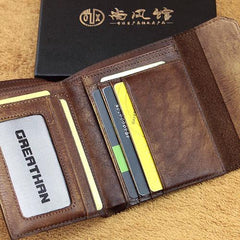 Handmade Mens Cool billfold Leather Wallet Men Small Wallets Trifold for Men