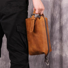 Cool Brown Leather Men's Red Brown Storage Bag Clutch Bag Portable Bag Mini Handbag for Men