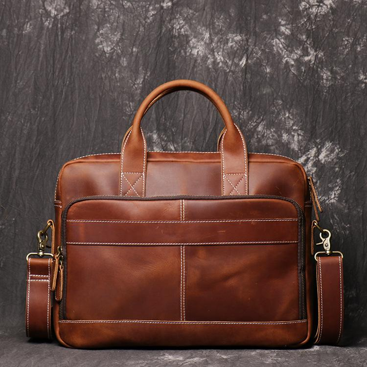 Brown Leather Men 14 inches Vintage Briefcase Handbag Dark Coffee Laptop Handbag Side Bag For Men