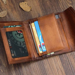 Handmade Mens Cool billfold Leather Wallet Men Small Envelope Wallets Bifold for Men