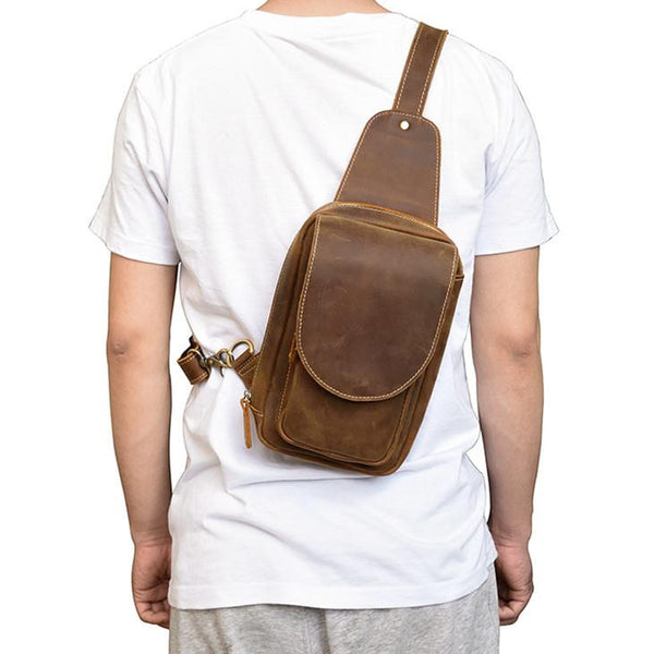 Leather Men's 8 inches Brown Sling Bag Chest Bag Dark Brown One Shoulder Backpack For Men
