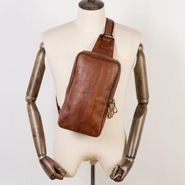 Brown Leather Mens 10 inches Sling Bag Sling Pack Casual Chest Bags One Shoulder Backpack for Men