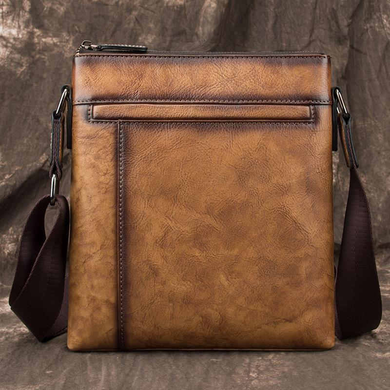 Brown  LEATHER MEN'S Small Side bag Square MESSENGER BAG Tan Square Courier Bag FOR MEN