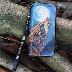 Black Handmade Tooled Tiger Leather Long Biker Wallet Chain Wallet Clutch Wallet For Men