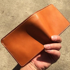 Handmade Leather Mens Cool Short Leather Wallet Men Small Wallets Bifold for Men