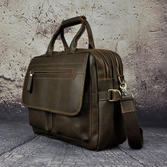 Black Coffee Leather Mens Briefcase Laptop Bag Business Bag Work Bags for Men
