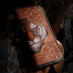 Handmade Leather Mens Clutch Wallet Cool Floral Tiger Tooled Wallet Long Zipper Wallets for Men