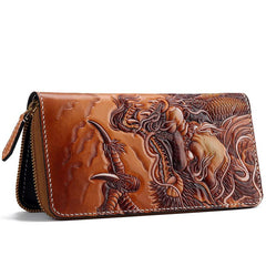 Handmade Leather Tooled Chinese Dragon Mens Chain Biker Wallet Cool Leather Wallet Zipper Long Phone Wallets for Men