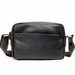 Black Leather Mens Casual Small Courier Bags Messenger Bags Gray Postman Bag For Men