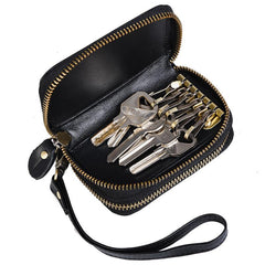 Cool Black Mens Double Zipper Leather Car Key Wallet Key Holder Change Holder For Men