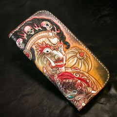 Handmade Leather Tooled Mah¨¡k¨¡la Mens Chain Biker Wallet Cool Leather Wallet Long Clutch Wallets for Men