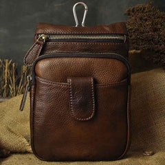 Vintage Leather Belt Pouches Cell Phone Holster Brown BELT BAG Small Side Bag For Men