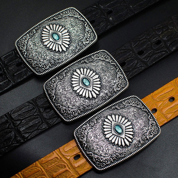 Handmade Genuine Leather Punk Rock Colour Enamels Floral Mens Cool Men Biker Trucker Leather Belt