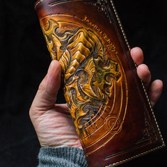 Handmade Leather Tooled  Diablo Skull Mens Chain Biker Wallet Cool Leather Wallet With Chain Wallets for Men
