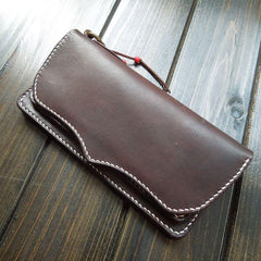 Handmade Leather Mens Long Clutch Wallet Cool Wallet Long Wallets Biker Chain Wallet for Men