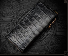Handmade Leather Tibetan Mens Chain Biker Wallet Cool Leather Wallet Long Zipper Wallets for Men