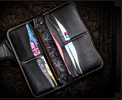 Handmade Leather Tooled Carp Mens Chain Biker Wallets Cool Leather Wallet Long Biker Wallets for Men