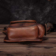 Cool Brown Leather Men's Waist Bag Phone Holster Shoulder Bag Mini Side Bag Belt Pouch For Men