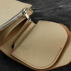 Vintage Handmade Beige Leather Men's billfold Wallet Bifold Biker Chain Wallet For Men