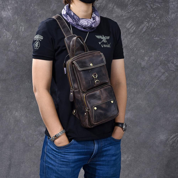 "Cool Leather Mens 8"" Brown Vintage Sling Bag Chest Bag One Shoulder Backpack for Men"