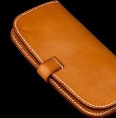 Handmade Leather Men Cool Long Leather Wallet Long Clutch Wallets for Men